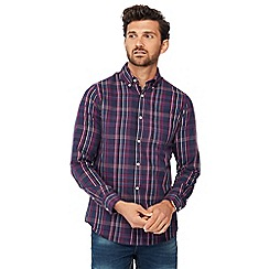 Maine New England - Big and tall purple checked long sleeve regular fit shirt