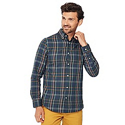 Maine New England - Big and tall dark green checked long sleeve regular fit shirt