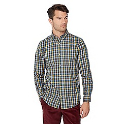 Maine New England - Mustard gingham print long sleeve regular fit shirt