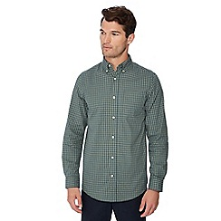 Maine New England - Big and tall green micro check print long sleeve regular fit shirt