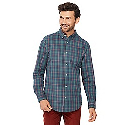 Maine New England - Big and tall green checked long sleeve regular fit shirt