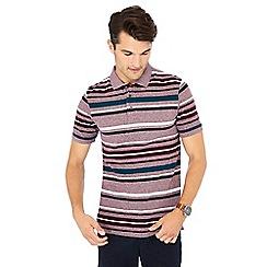 Maine New England - Plum 'Toronto' striped print cotton polo shirt