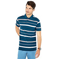 Maine New England - Dark turquoise 'Wigmore' striped print cotton polo shirt