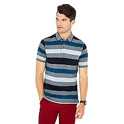 Maine New England - Big and tall dark turquoise 'barbados' striped print cotton polo shirt