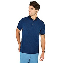 Maine New England - Mid blue textured cotton polo shirt