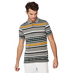 Maine New England - Gold 'Toronto' striped print cotton polo shirt