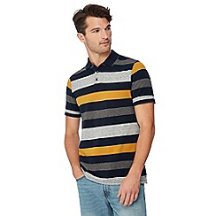 Maine New England - Big and tall gold 'Barbados' striped print cotton polo shirt