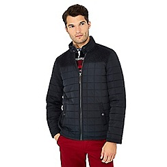 Maine New England - Navy fleece panel quilted jacket