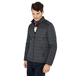 Maine New England - Big and tall grey fleece panel quilted jacket