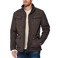 Maine New England - Dark brown fleece panel quilted jacket