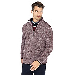 Maine New England - Plum knit look zip neck jumper