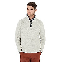 Maine New England - Light grey knit look zip neck sweatshirt