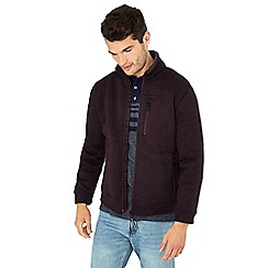 Maine New England - Wine Borg lined knit look zip neck cardigan