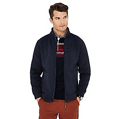 Maine New England - Big and tall dark blue borg lined knit look zip neck jacket