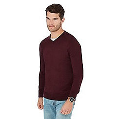Maine New England - Dark red V-neck jumper