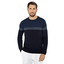 Maine New England - Navy yoke stripe crew neck jumper