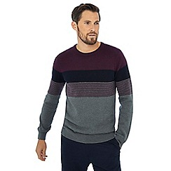 Maine New England - Maroon yoke stripe crew neck jumper