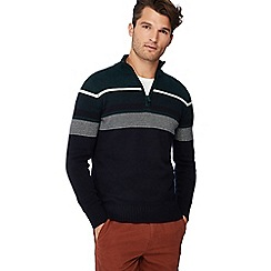 Maine New England - Navy striped yoke zip neck sweater