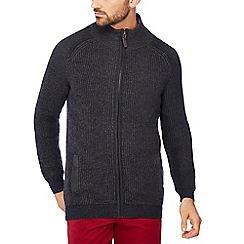 Maine New England - Navy rib knit zip through cardigan