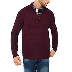 Maine New England - Plum rib knit zip neck jumper