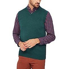 Maine New England - Dark green v-neck knit tank top
