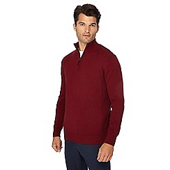 Maine New England - Red twist knit zip neck jumper