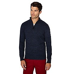 Maine New England - Navy twist knit zip neck jumper