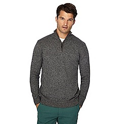 Maine New England - Dark grey twist knit zip neck jumper