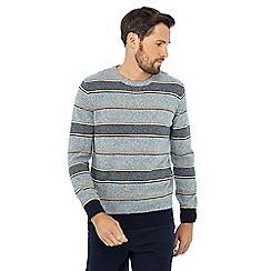 Maine New England - Grey stripe print crew neck jumper