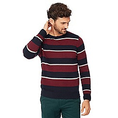 Maine New England - Navy and dark red striped knit jumper
