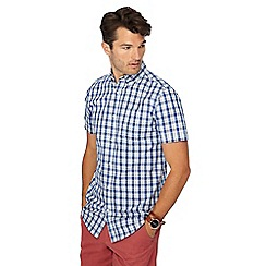 Maine New England - Blue block check print short sleeve regular fit shirt