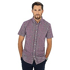 Maine New England - Wine red cube check print short sleeve shirt