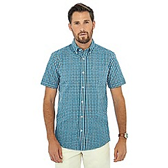 Maine New England - Dark turquoise cube check print short sleeve shirt