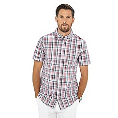 Maine New England - Wine red check print short sleeve shirt