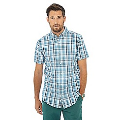 Maine New England - Big and tall dark turquoise check print short sleeve shirt