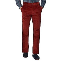 Maine New England - Big and tall dark orange corduroy regular fit trousers