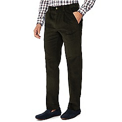 Maine New England - Dark green corduroy regular fit trousers