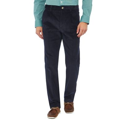 Maine New England   Navy Corduroy Regular Fit Trousers by Maine New England