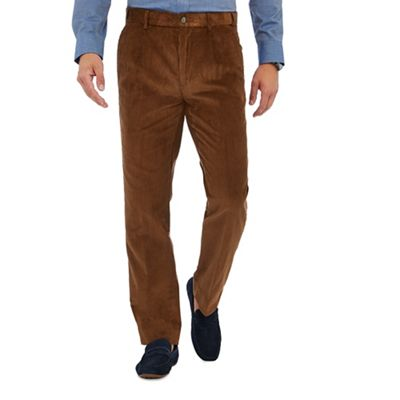 Maine New England   Tan Corduroy Regular Fit Trousers by Maine New England