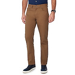 Maine New England - Big and tall tan straight fit bedford trousers
