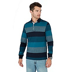 Maine New England - Dark turquoise striped cotton rugby top