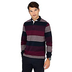 Maine New England - Big and tall plum striped cotton rugby top