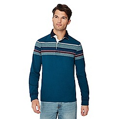 Maine New England - Dark turquoise chest stripe cotton rugby top