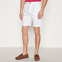 Maine New England - Big and Tall White Linen Blend Chino Shorts