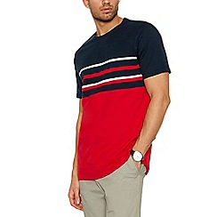 Maine New England - Big and tall red placement stripe cotton t-shirt
