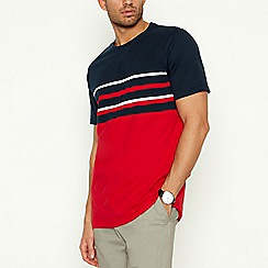 Maine New England - Red Placement Stripe Cotton T-Shirt