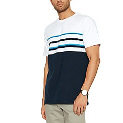 Maine New England - Big and tall turquoise placement stripe cotton t-shirt