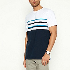 Maine New England - Turquoise Placement Stripe Cotton T-Shirt