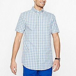 Maine New England - Big and tall yellow checked short sleeve regular fit shirt