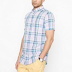 Maine New England - Big and tall lilac checked short sleeve regular fit shirt